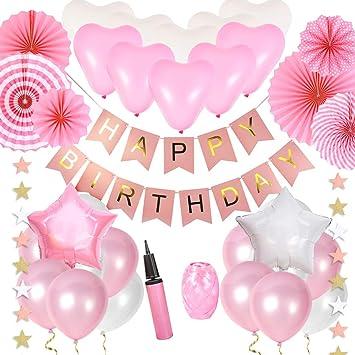 JOYMEMO Decoraciones de cumpleaños de Color Rosa y Blanco ...