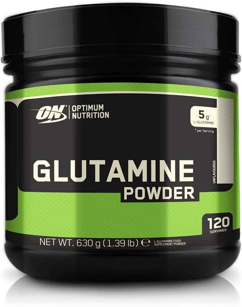 Optimum Nutrition Glutamine, l Glutamina en Polvo, Aminoacido, Suplementos para Ganar Masa Muscular, Sin Sabor, 120 Porciones, 630g
