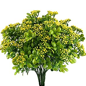 Nahuaa Artificial Shrubs, 4PCS Outdoor Fake Greenery Plants Faux Plastic Aglaia Odorata Bushes Bundles Table Centerpieces Arrangements Home Kitchen Office Windowsill Spring Decorations 39