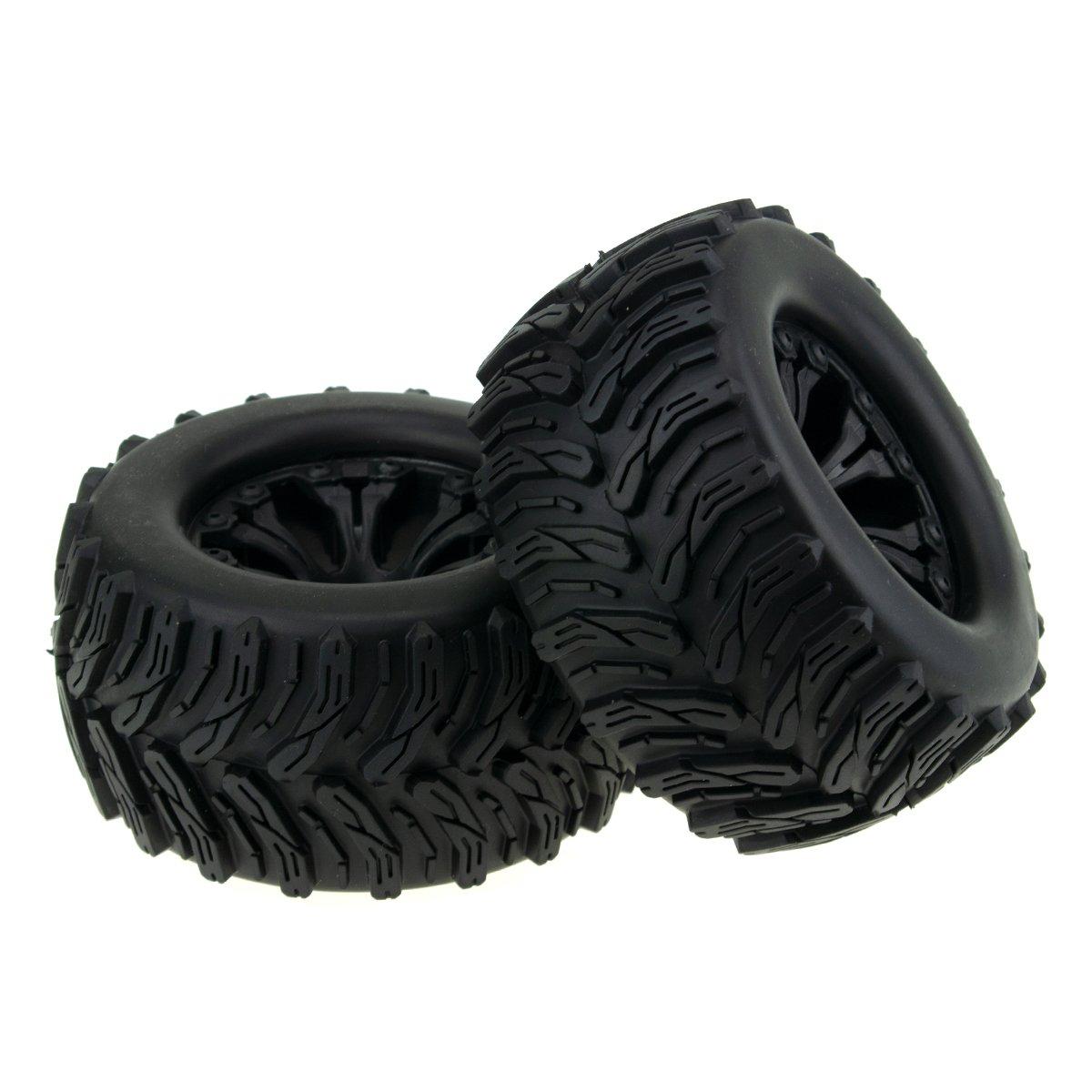 HobbyMarking 2Pcs RC 1/10 Monster Truck 123mm Tires Tyre & 12mm HEX Wheel Rims Hub for Traxxas HPI HSP Tamiya Kyosho Model Car