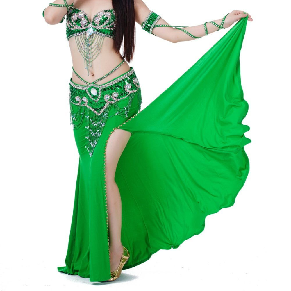 ChYoung Womens Belly Dance Dresses Girls Ladies Rumba Skirts Side Open Dance Dress Dancewear