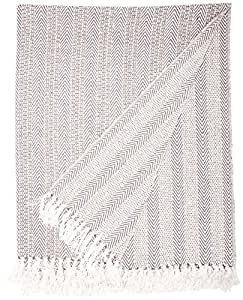 """DII Rustic Farmhouse Cotton Stripe Blanket Throw with Fringe For Chair, Couch, Picnic, Camping, Beach, & Everyday Use , 50 x 60"""" - Herringbone Stripe Gray"""