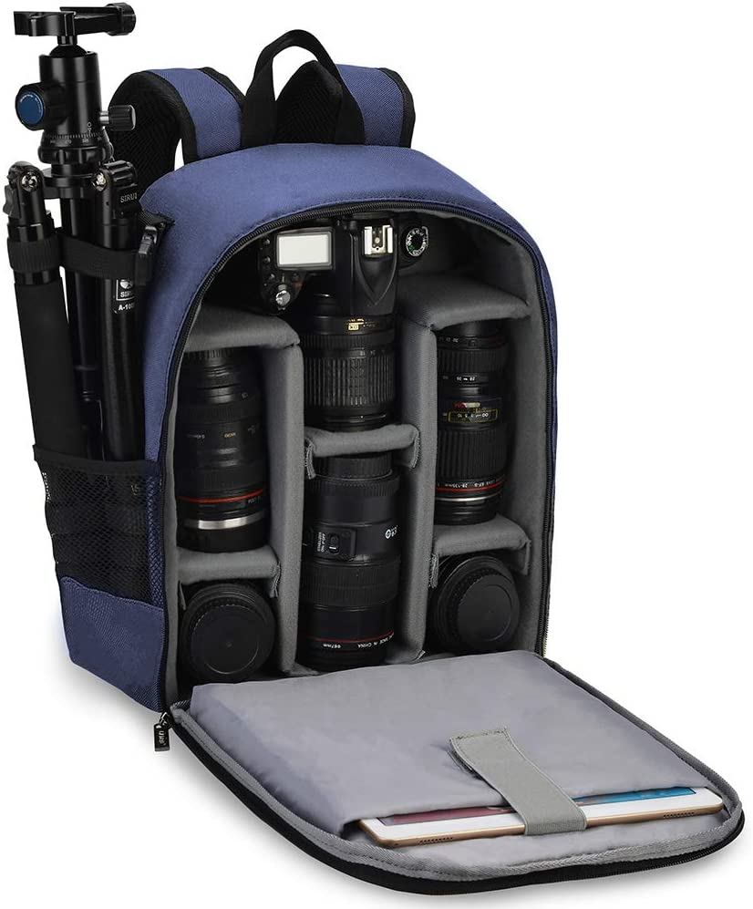 CADeN Camera Backpack Bag Professional for DSLR/SLR Mirrorless Camera Waterproof, Camera Case Compatible for Sony Canon Nikon Camera and Lens Tripod Accessories Blue