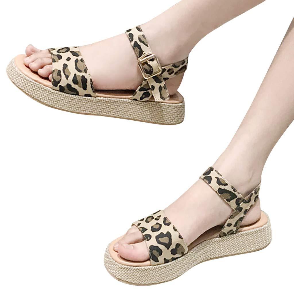 Orangeskycn Women Sandals Ladies Summer Leopard Print Thick Bottom Buckle Strap Solid Color Flat Causal Sandals Plus Size Brown by Orangeskycn Women Sandals (Image #3)