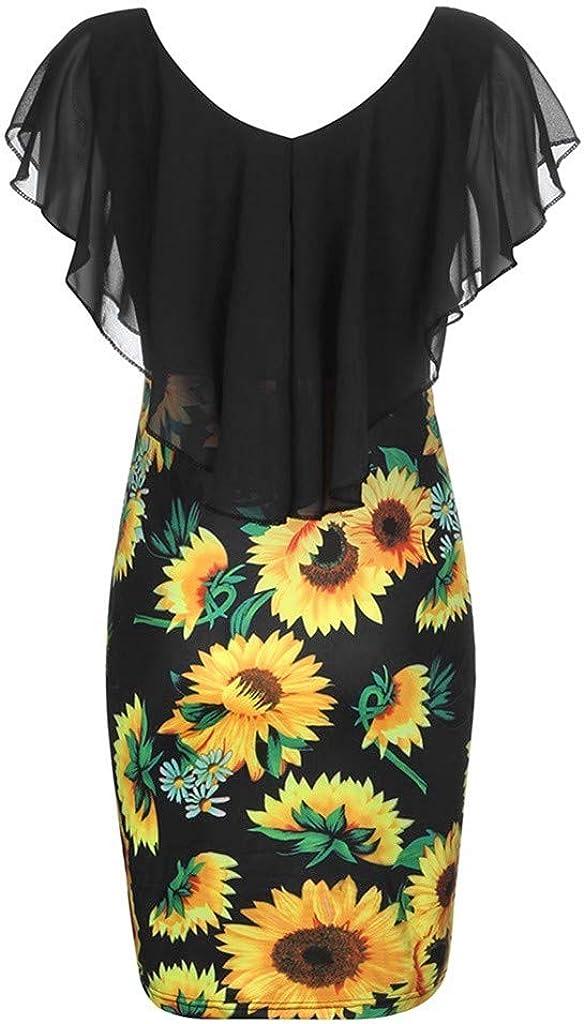 Dresses for Women Floral Print Wrap Mini Dress Sleeveless Casual Cocktail Party Short Beach Sundress