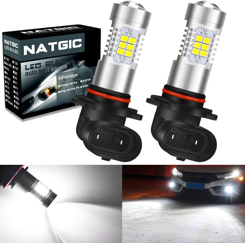 EX 2835 SMD Chipsets with Lens Projector for Replacement LED Fog Light Daytime Running Lights 2-Pack NATGIC P13W LED Fog Light Bulbs Amber 21 10-16V 10.5W