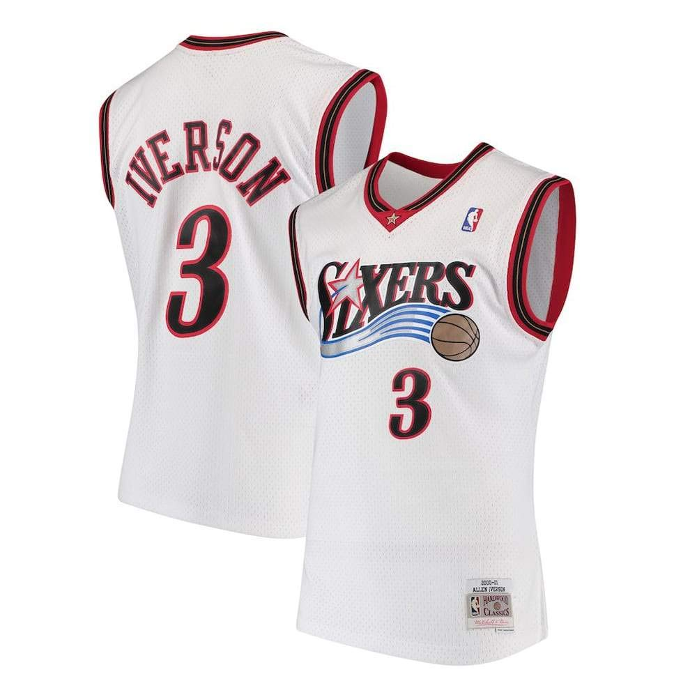 Mitchell & Ness White/Red Philadelphia 76ers Allen Iverson Swingman Jersey (White/Red, 4XL)