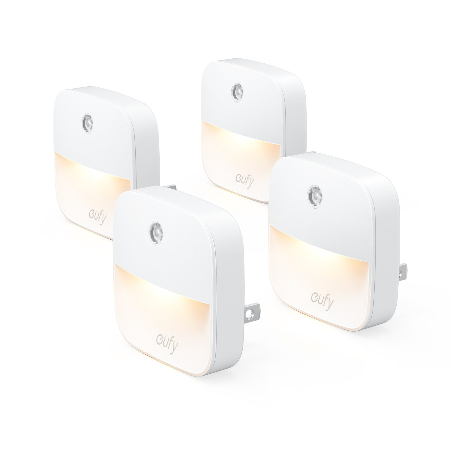 eufy Lumi Plug-in Night Light, Warm White LED Nightlight, Dusk-to-Dawn Sensor, Bedroom, Bathroom, Kitchen, Hallway, Stairs, Energy Efficient, Compact (4 Pack)