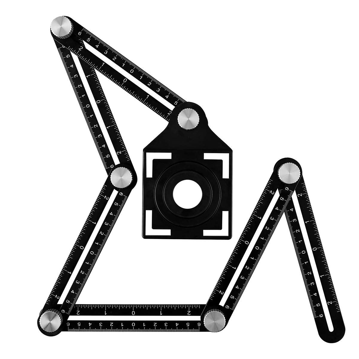 4-Sided Angle Template Tool Aluminum Alloy with Drill Guide Locator for Carpenters Updated Version Hobbyists Builders Angle Measuring Ruler