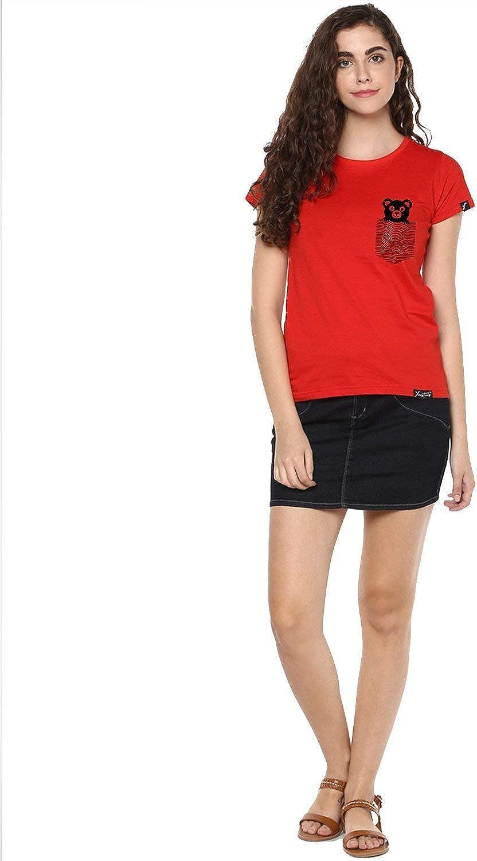 Womens Half Sleeve Teddybear Printed Red Color Tshirts