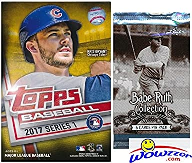 2017 Topps Series 1 Mlb Baseball Exclusive Factory Sealed Hanger Box With 72 Cards Including 2 Mlb Award Gold Parallels Plus Bonus Babe Ruth