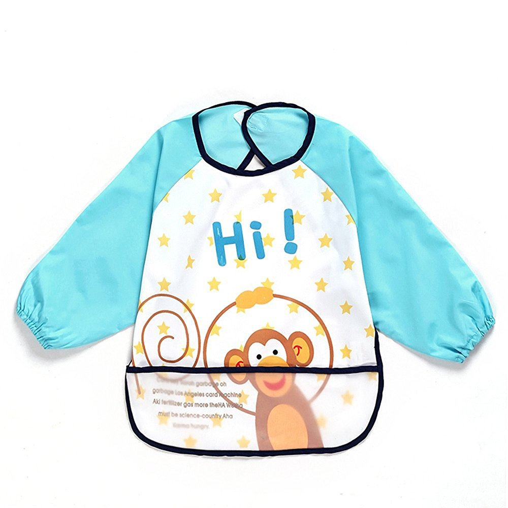 Sohv Unisex Kids Childs Arts Craft Painting Apron Baby Waterproof Bib with Sleeves& Pocket, 6-36 Months, A dark blue monkey, Set of 1