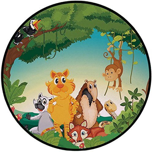 Printing Round Rug,Zoo,Forest Scene with Different Animals Habitat Jungle Tropical Environment Kids Cartoon Decorative Mat Non-Slip Soft Entrance Mat Door Floor Rug Area Rug For Chair Living Room,Mult