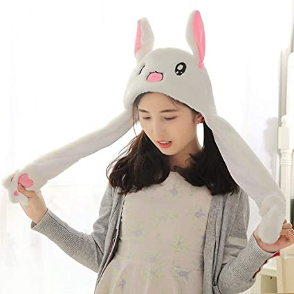 699b5b35d68 KOBWA Unisex Funny Bunny Hat With Moving Ears Plush Rabbit Hat Bunny Ears  Headband Toys Fancy Dress Cosplay Rabbit Best Gift for Kids Adults   Amazon.co.uk  ...