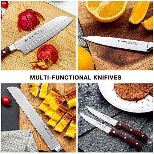 Knife Set, 15-Piece Kitchen Knife Set with Block Wooden, Self Sharpening Manual for Chef Knife Set, German Stainless Steel, Emojoy (15 Pcs Knife Set) by Emojoy (Image #3)