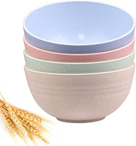 Unbreakable Cereal Bowls - 24 OZ Wheat Straw Fiber Lightweight Bowl Sets 4 - Dishwasher & Microwave Safe - for,Rice,Soup Bowls