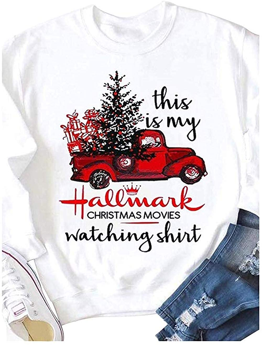 This Is My Hallmark Christmas Movies Watching Red Truck Tree Graphic Swe Shirts