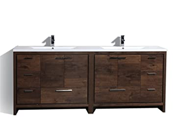 Charmant ENOVAUS 84 Inch Double Sink Freestanding Modern Bathroom Vanity With  Acrylic Top (Rosewood)