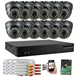 GW 5-In-1 1080P 16 Channel DVR 2MP 4X Optical Zoom Security Camera System with (12) x True HD 1080P Waterproof Auto-Focus 4X Motorized Zoom Varifocal 25°-100° Dome Camera