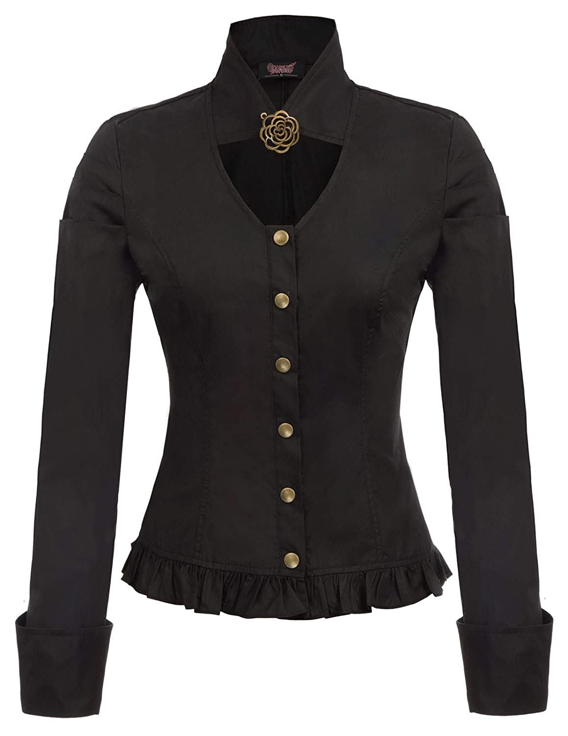 Victorian Blouses, Tops, Shirts, Sweaters Women Steampunk Victorian Tops Stand Collar Button Placket Brooch Blouse S-2XL $27.99 AT vintagedancer.com