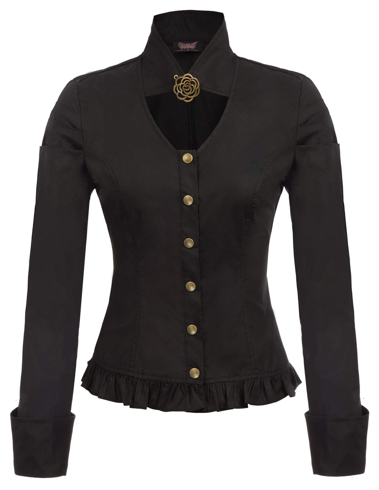 Women Vintage Steampunk Victorian Button Blouse 3