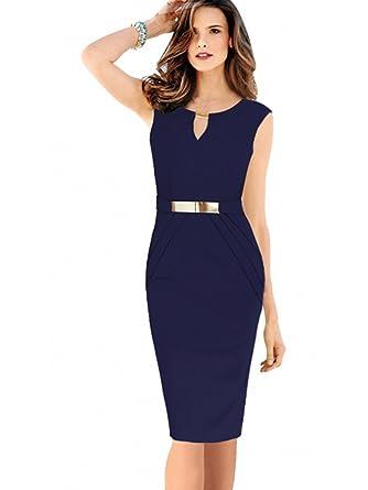 db2aeb104cb62f Misshow Damen Etuikleid Knielang Business Ärmellos Bleistiftkleid  Abendkleid  Amazon.de  Bekleidung