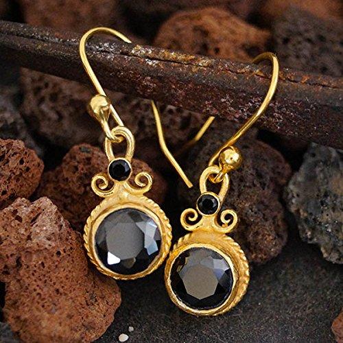 Gold Vermeil Onyx Earrings - Sterling Silver Black Onyx Handmade Earrings By Omer 24k Yellow Gold Vermeil