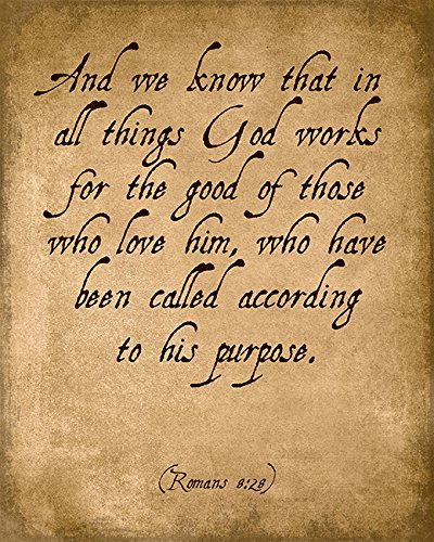 And We Know That In All Things God Works (Romans 8:28), bible verse art print