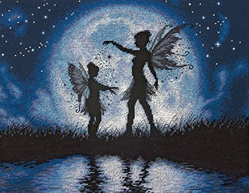 Dimensions Twilight Silhouette Fairy Counted Cross Stitch Kit, 14 Count Navy Aida, 14'' x 11'' ()