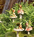 Cheap Plow & Hearth GO7431 Fairies On Mushrooms Outdoor Garden Stakes, Set of 4
