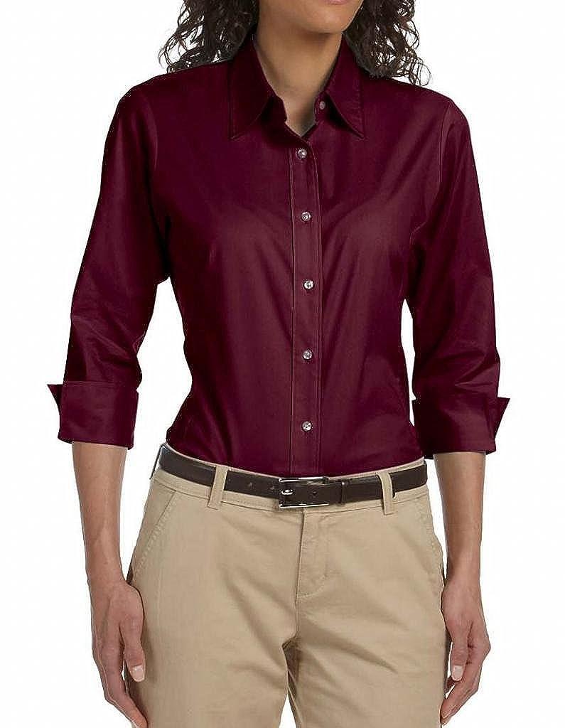 Devon & Jones Pink Three-Quarter-Sleeve Stretch Poplin Blouse DP625W