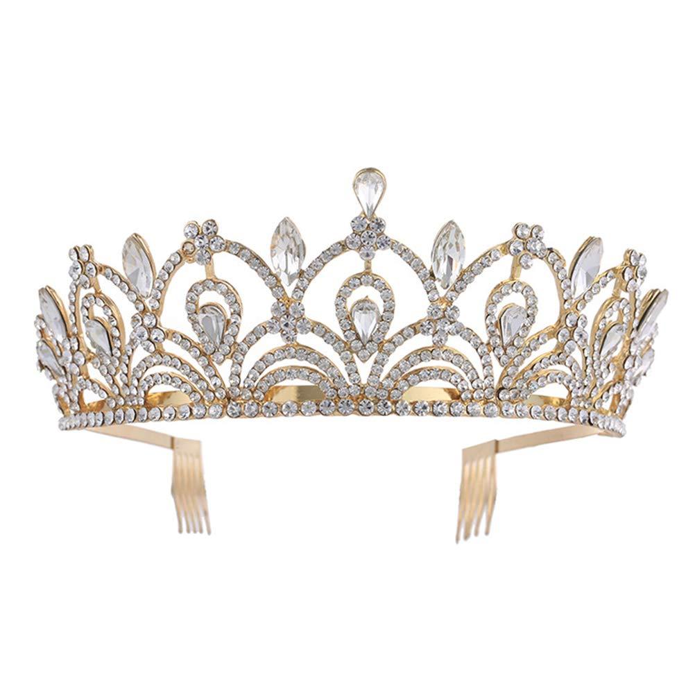Frcolor Crystal Crown Shiny Wedding Tiara Bridal Tiara Accesorios para Mujer (Dorado)