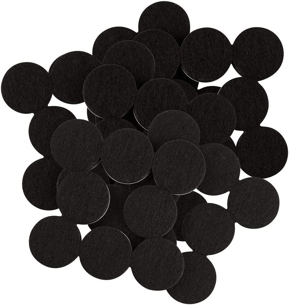 SoftTouch 4799095N Hardwood Floor Protector Round Self Stick Felt Furniture Pads 1 Inch, Black (48 Pieces),