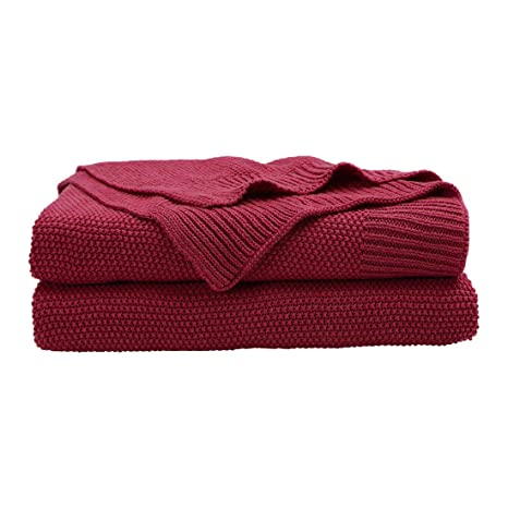PICCOCASA 100% Cotton Cable Knit Throw Blanket,Lightweight Solid Decorative  Sofa Throws,Soft Red Knitted Throw Blankets for Sofa Couch,50\