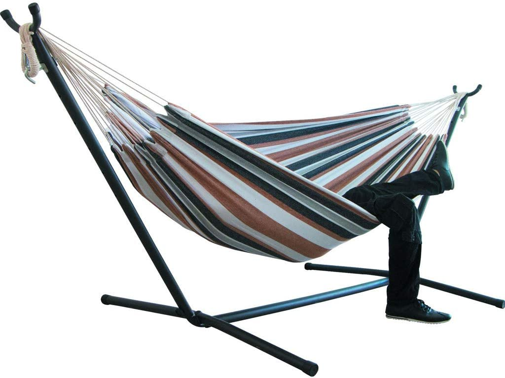 Tropical Beach Yard Max Weight: 450lb Outdoor Patio Travel Portable Hammock Bed Tloowy Double Hammock Swing Bed With Space Saving Steel Stand +Portable Carrying Case for Backpacking