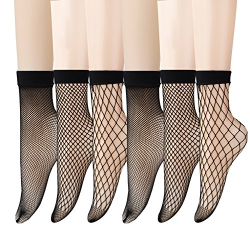 - Epeius 6 Pairs Pack Women's Lace Fishnet Ankle Socks,Stylish Black + Hollow Out,Shoe Size 5-8.5