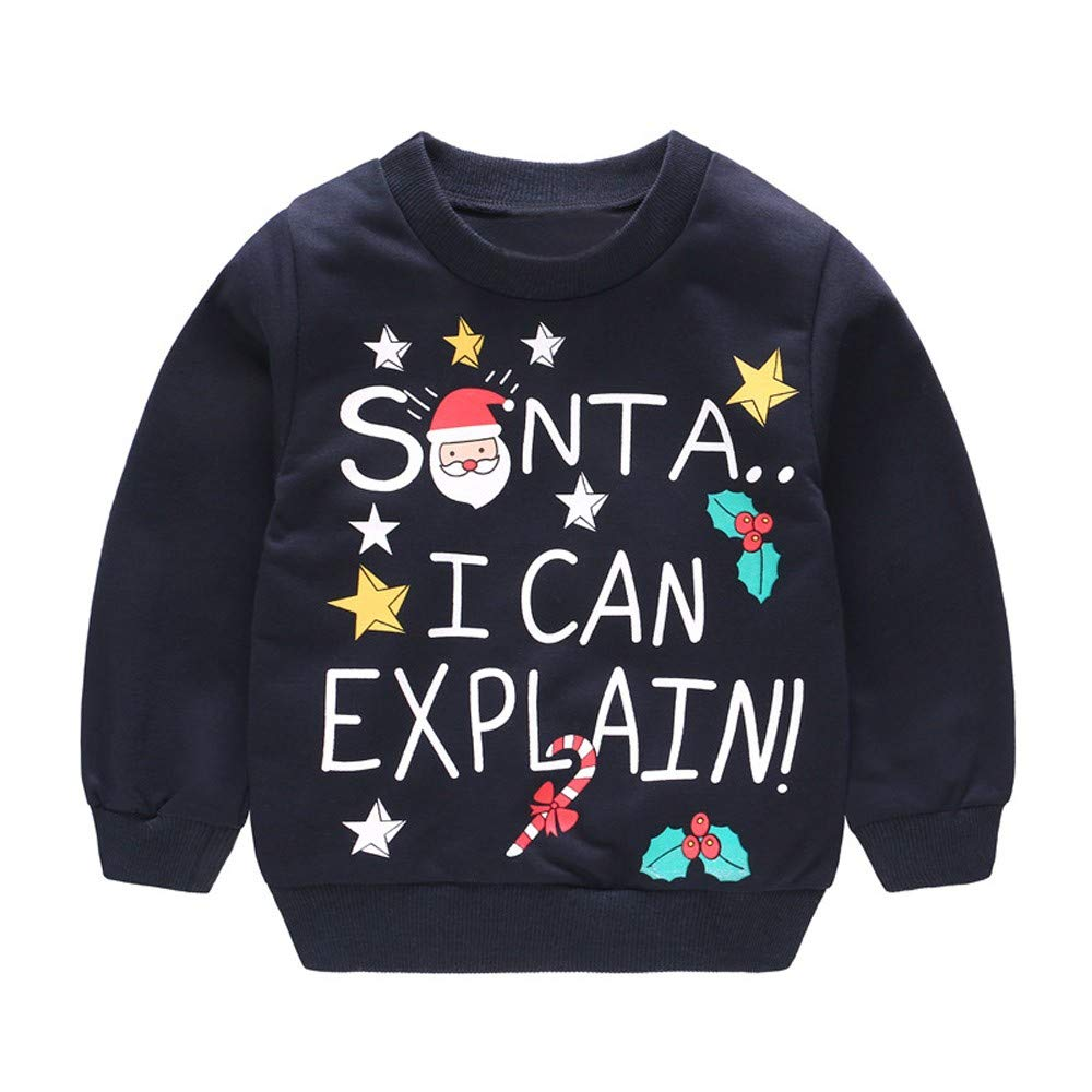 Infant Baby Toddler Girls Boys Christmas Clothes Outfits 6M-4T,Kids Xmas Santa Claus Snowman Deer Tops Pants Set