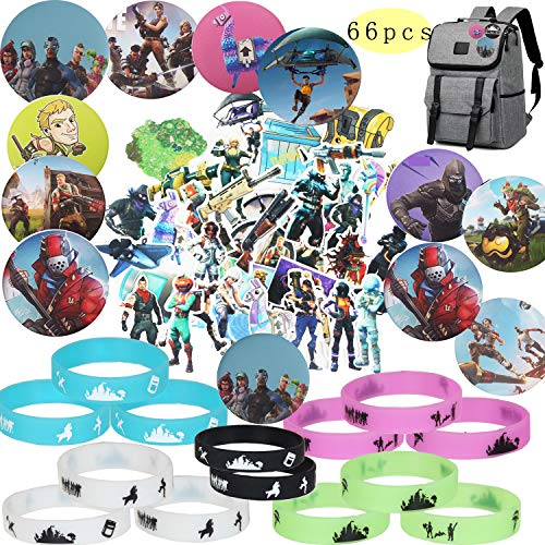 Vedio Game Party Supplies 66pcs with Bracelets Kids Birthday Party Favors - GLOW IN THE DARK 14 Badge Pins 12 Set of 40 Stickers Variety Waterproof Car Bicycle Luggage Computer Stickers Kids Adults