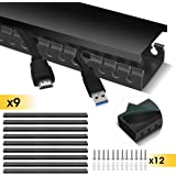 Cable Raceway Kit, Stageek Cable Management System Kit Open Slot Wiring Raceway Duct with Cover, On-Wall Cable Concealer Cord Organizer to Hide Wires Cords for TVs, Computers - 9x15.4inch, Black