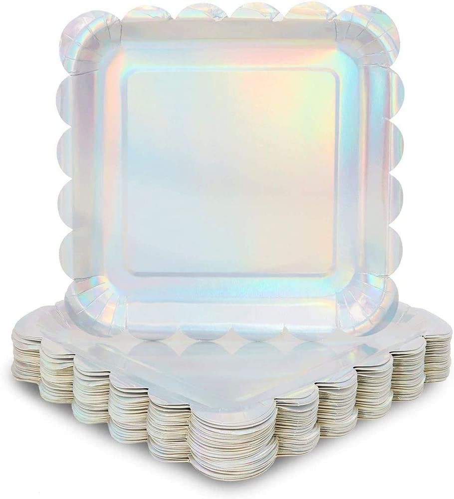 Holographic Silver Foil Square Paper Plates, Scalloped Edge (9 In, 48 Pack)