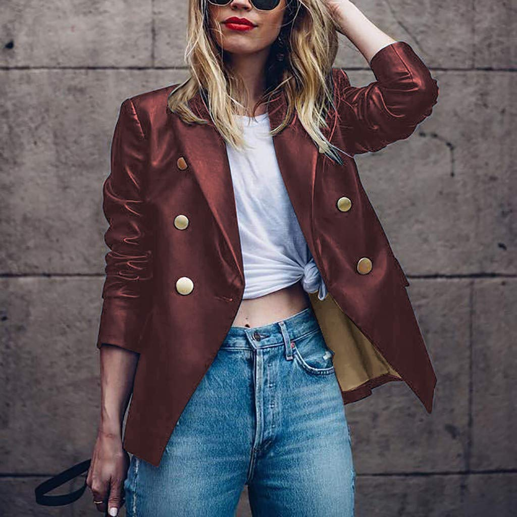 Lelili Women Fashion PU Leather Buttons Blazer Coat Long Sleeve Solid Open Front Cardigan Suit Jacket Outerwear Tops