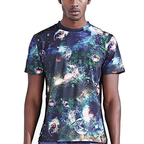 katomi Herren Kurzärmliges Shirt 3D-Druck Kurzarm T-Shirt Planet