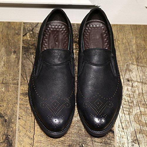 Chaussures Sculpté Britannique en Chaussures Hommes Mode Black en LEDLFIE Noir Chaussures Casual Cuir Cuir Bullock wAzxRH