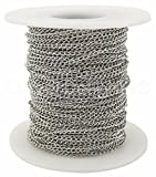 CleverDelights Curb Chain Spool - 2x3mm Link - Antique Silver (Platinum) Color - 100 Feet - Bulk Chain