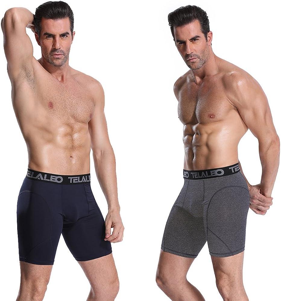 TELALEO Mens Long Compression Shorts Cool Dry Sports Tights