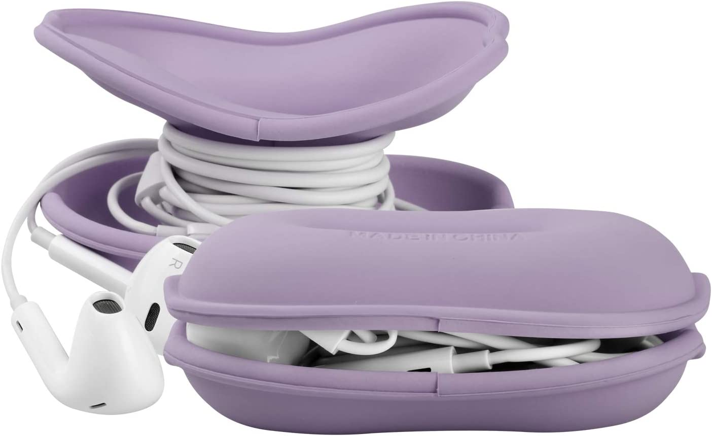 MAIRUI Earbud Case Holder Earphone Case Wrap Earbuds Nest Tangle Free Silicone Organizer (Purple)