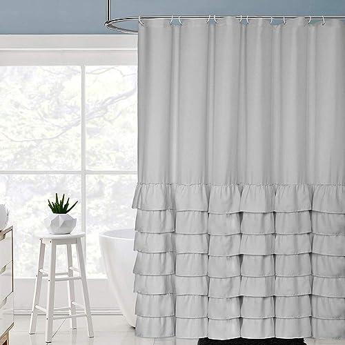 Volens Gray Grey Shower Curtain Farmhouse Cloth Rustic Ruffle For Bathroom