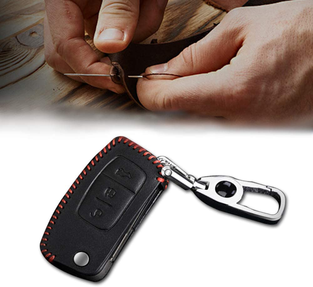 Leather Remote Case Car Key Bag Cover for FORD 3 Buttons Folding Key Luxury Genuine Hand Sew Black Line 1PC Type A