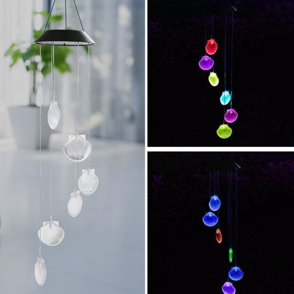 Pro -Shop Sea Shells Solar Power Chime Wind Spinner LED Light, Changing Color LED Mobile Windlights Wind Chimes for Outdoor Garden Décor Christmas (Seashell)