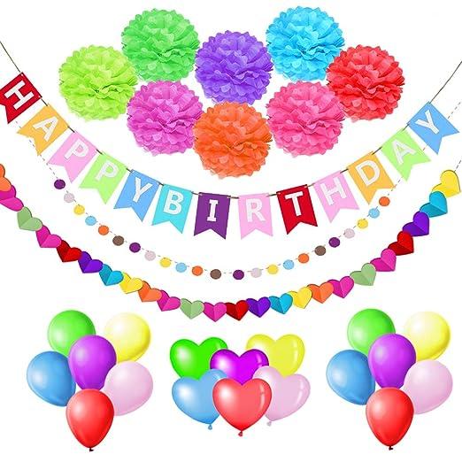 esafio Decoraciones Cumpleaños, Feliz cumpleaños Decoración Globos Garland Banderas Conjunto 41 Piezas Suministros de decoración Material Seguro para ...